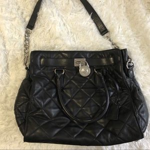 Michael Kors Large Black Leather Quilted Hamilton